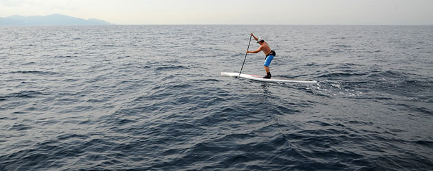 Belar Diaz crossing the Strait of Gibraltar on a SUP