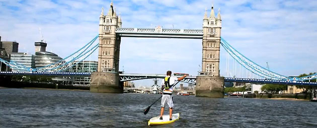 Bobby Thatcher Paddling the London Ring on a SUP