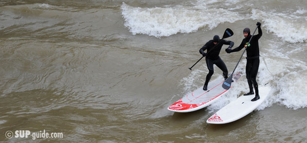 Belar Diaz and Fred Bonnef River SUP Surfing