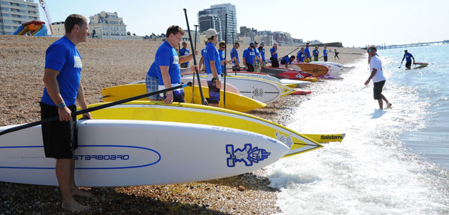 Start of SUP Race at paddle around the pier